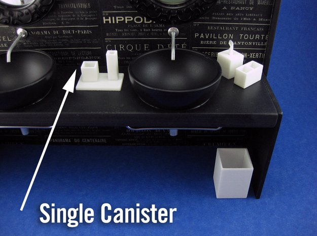 Bath Single Canister 1:12 scale in White Processed Versatile Plastic