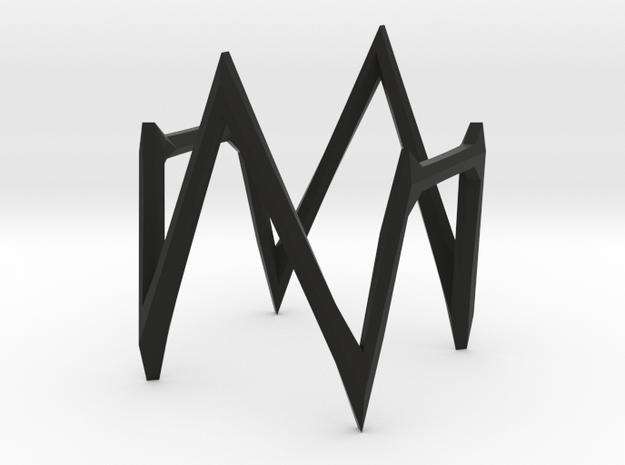 Square Hexagon Version 1a in Black Natural Versatile Plastic