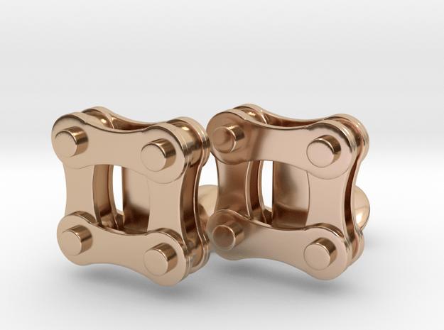 Bike Chain Cufflinks in 14k Rose Gold Plated Brass