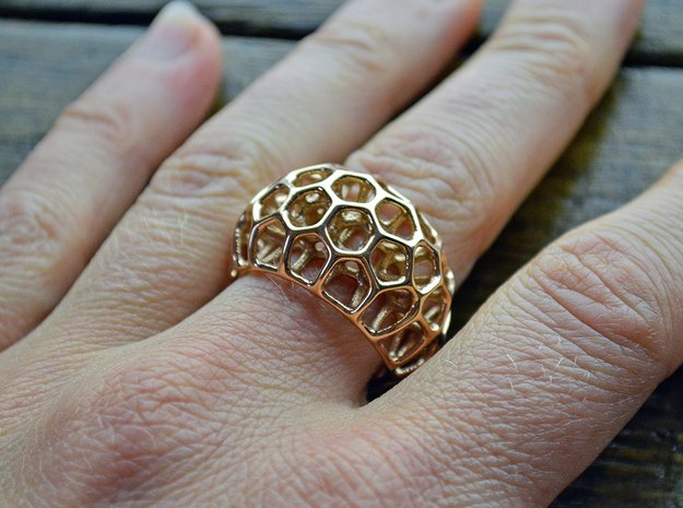 Voronoi Cell Ring  (Size 60) in 14k Rose Gold Plated Brass