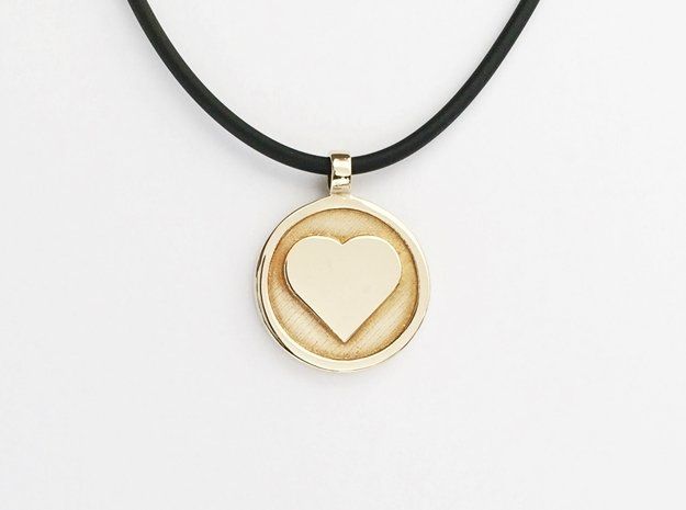 """Personalized Heart Pendant - Say """"I Love You""""  in Polished Brass"""