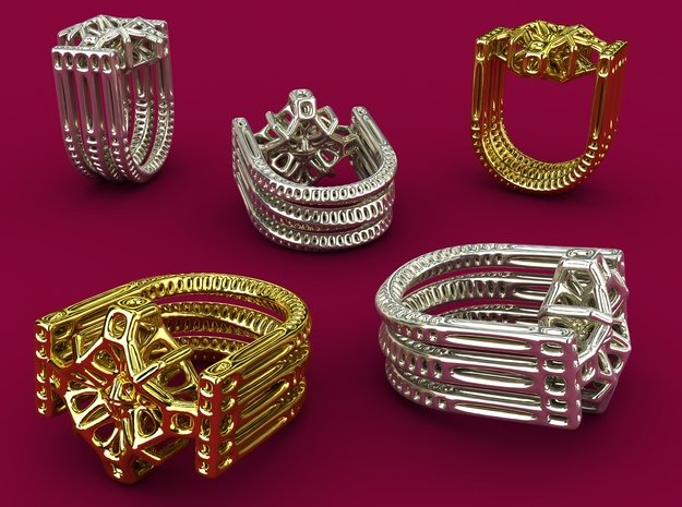 Tetrahedrical Ring in 18k Gold Plated Brass