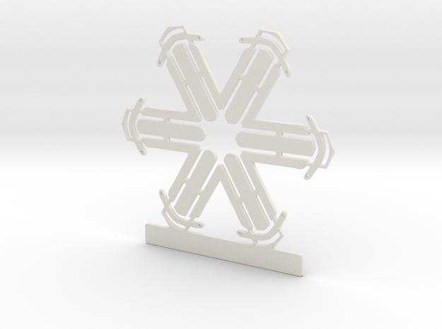Customizable Sled Snowflake Ornament in White Natural Versatile Plastic