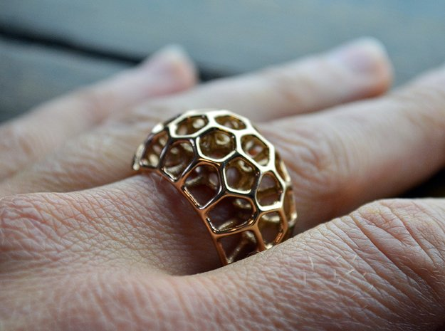 Voronoi Cell Ring II  (Size 54) in 14k Rose Gold Plated Brass