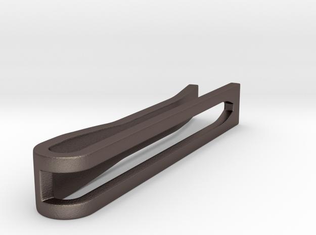 Minimalist Tie Bar - Wedge (1.5 In) in Polished Bronzed Silver Steel