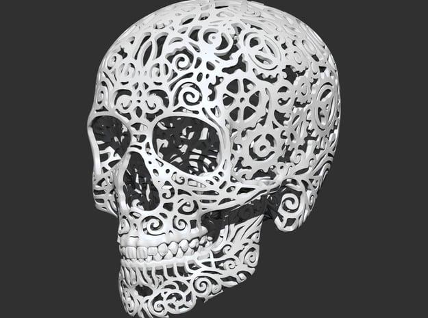 Skull Filagree - Gears 8cm in White Natural Versatile Plastic