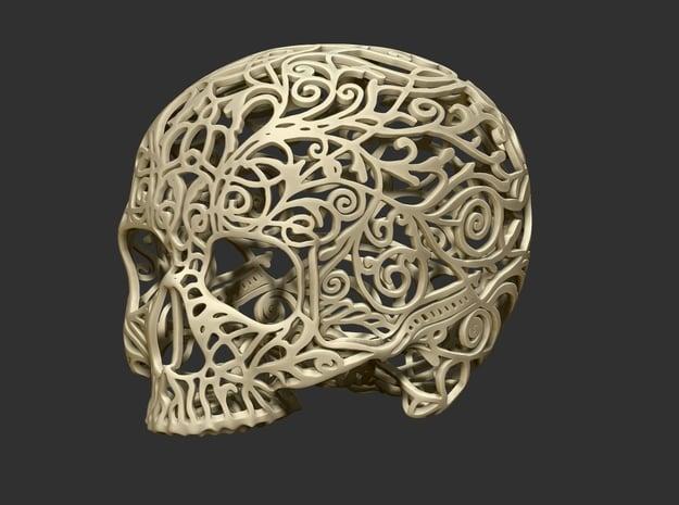 Skull Filagree -v2 Top - 5.2cm  in White Natural Versatile Plastic
