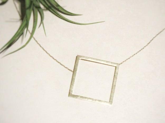 Square Pendant in Natural Brass