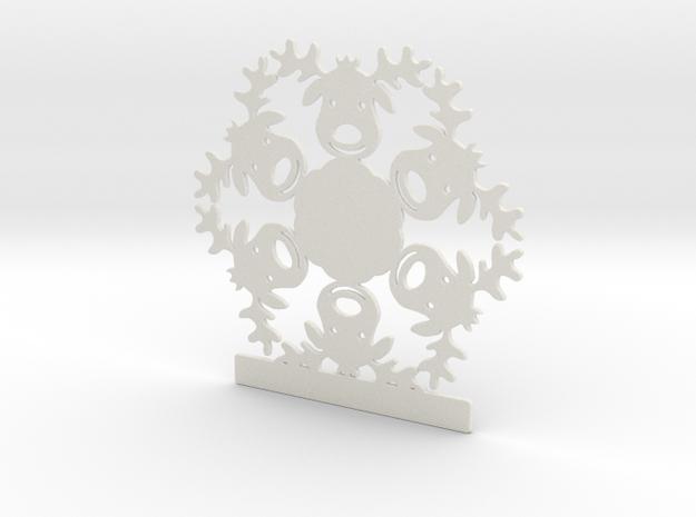 Customizable Reindeer Snowflake Ornament in White Natural Versatile Plastic