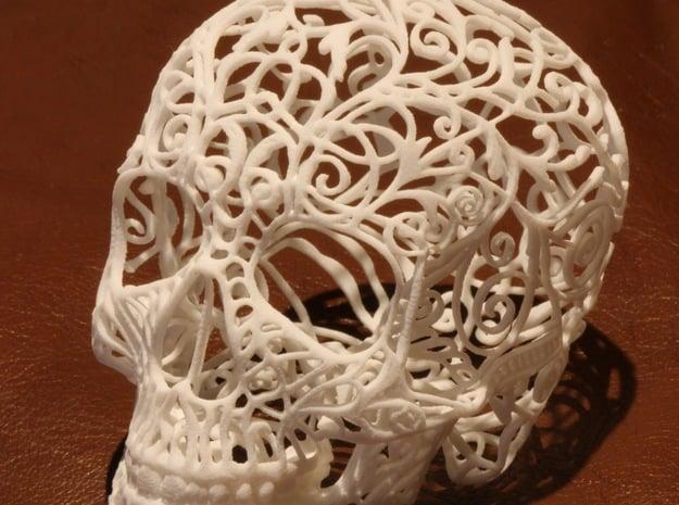Skull Filagree - v1 - 21cm in White Natural Versatile Plastic