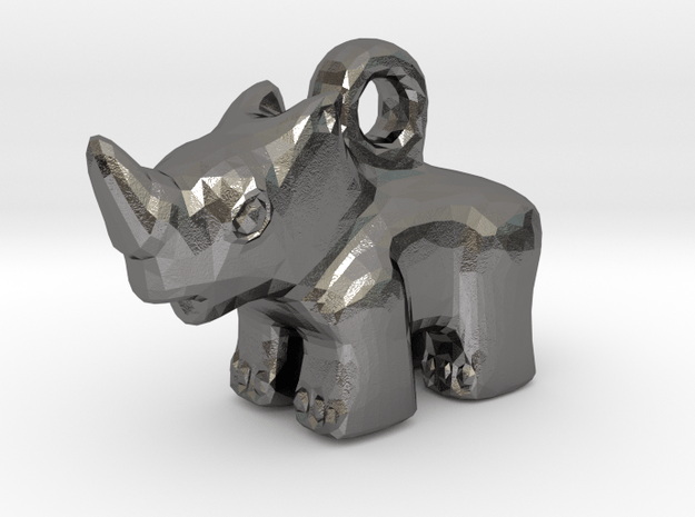 Baby Rhino Pendant in Polished Nickel Steel
