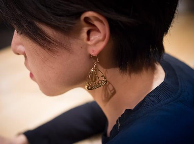 Butterfly Earrings (S)  in Polished Brass
