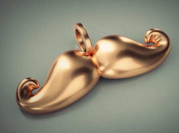 Mustache Pendant v2 in Polished Brass