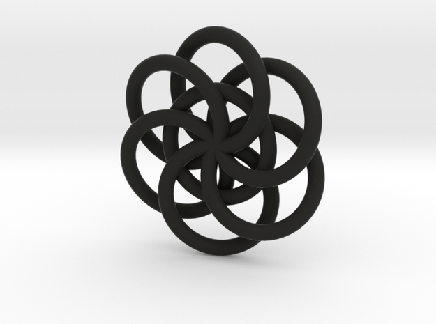 Large Woven Seed of Life Pendant in Black Natural Versatile Plastic
