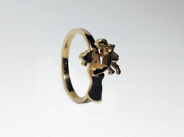 Mother-Daughter Ring - Motherhood Collection in Polished Brass: 6 / 51.5