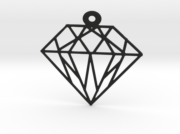 Diamond Pendants in Black Natural Versatile Plastic: Small