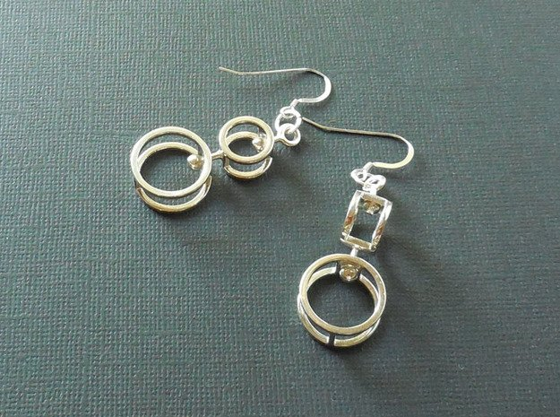 Double Double  -- Earrings in Interlocking metal in Polished Silver (Interlocking Parts)