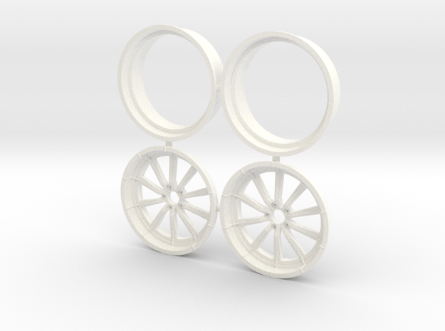 RCComponents 1/12 Front Pair No Lugnuts  in White Processed Versatile Plastic