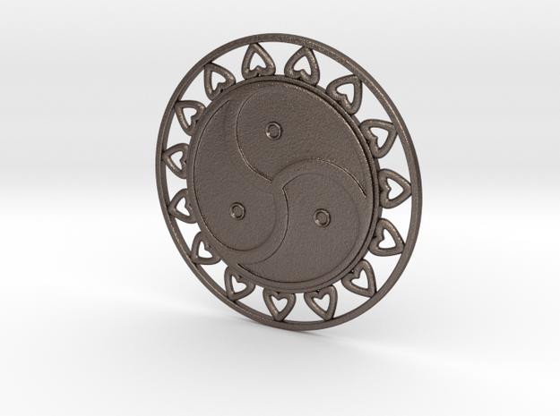 Triskele - hearts in Polished Bronzed-Silver Steel