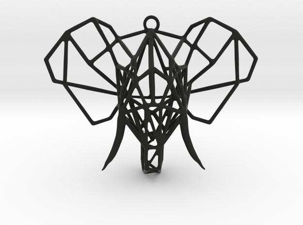 Elephant Pendant in Black Natural Versatile Plastic