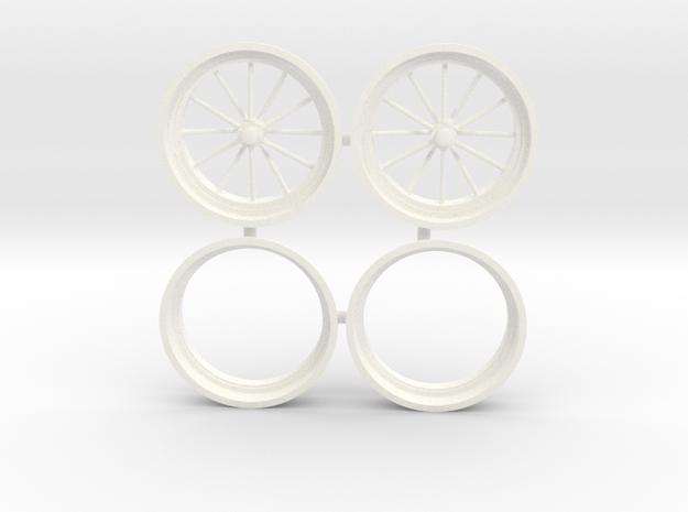 12 Spoke front drag wheels 1/12 in White Processed Versatile Plastic