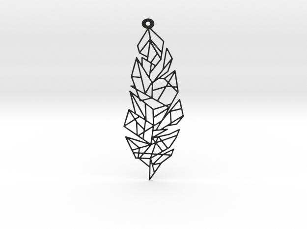 Leaf Pendant in Black Natural Versatile Plastic