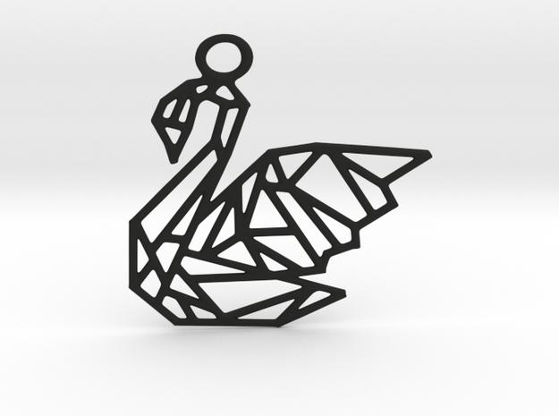 Swan Pendant in Black Natural Versatile Plastic