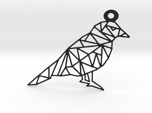 Bird Pendant in Black Natural Versatile Plastic