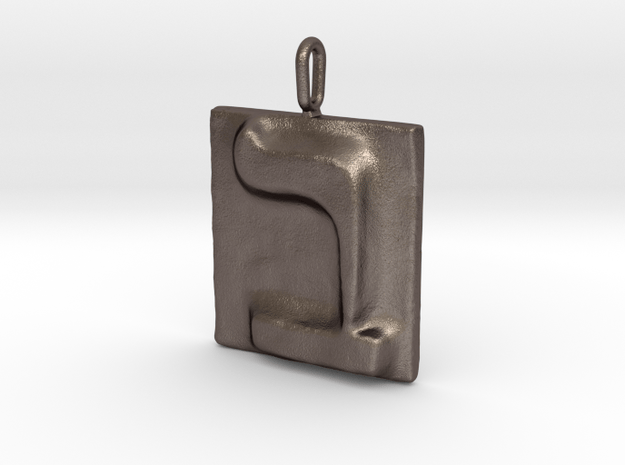 02 Bet Pendant in Polished Bronzed Silver Steel