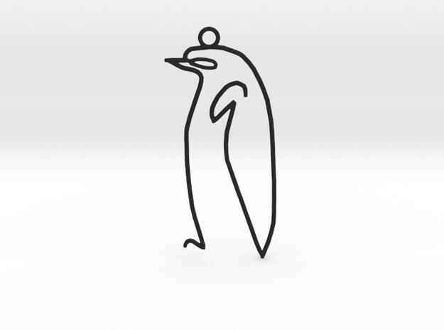 Picasso's sketch - Penguin Pendant in Black Natural Versatile Plastic