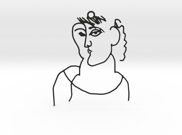 Picasso Woman sketch - Pendant in Black Natural Versatile Plastic