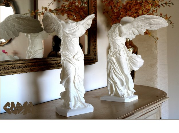 """Winged Victory (5"""" tall) in White Natural Versatile Plastic"""