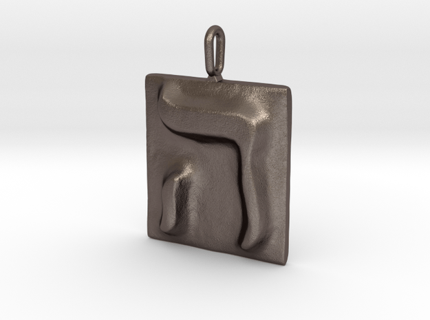 05 He Pendant in Polished Bronzed Silver Steel