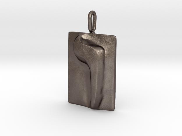 06 Vav Pendant in Polished Bronzed Silver Steel