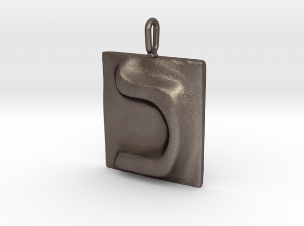 11 Kaf Pendant in Polished Bronzed Silver Steel