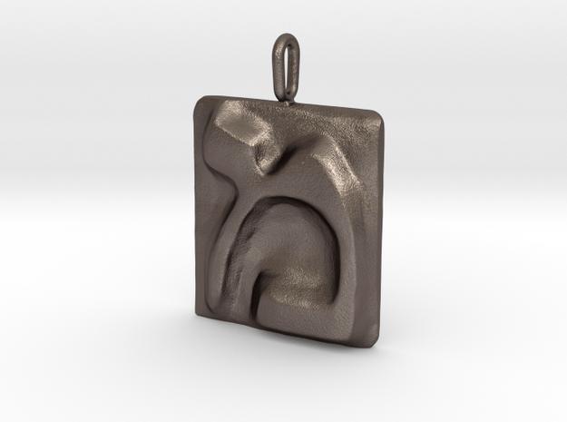 13 Mem Pendant in Polished Bronzed Silver Steel