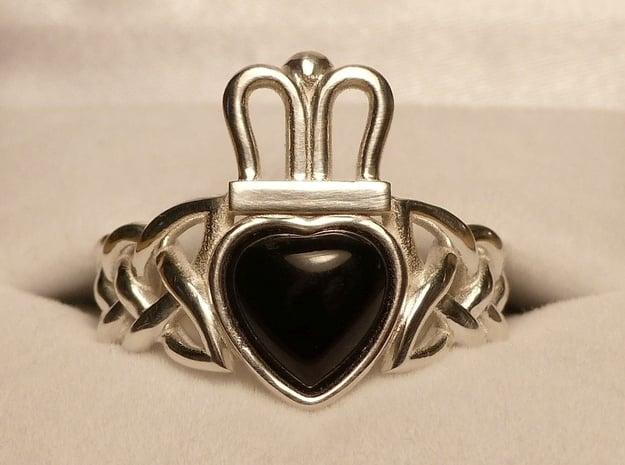 Onyx Claddagh Ring Size 11.5 - NO GEM in Polished Silver