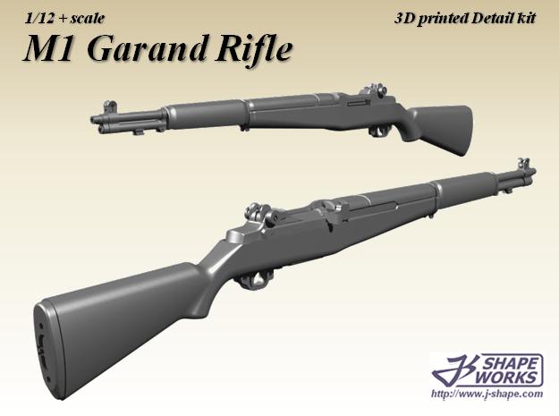 1/12+ M1 Garand rifle in Smoothest Fine Detail Plastic: 1:12