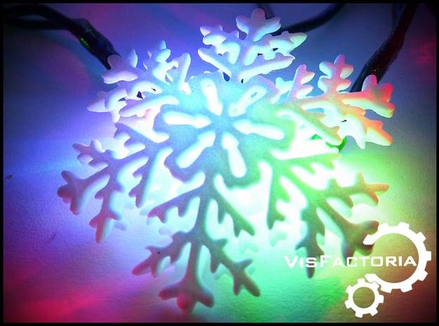 Antler Christmas Snowflake in White Natural Versatile Plastic