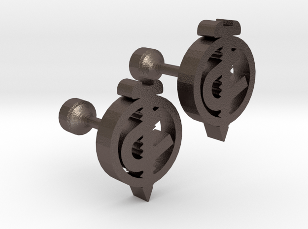 Screw U Cufflinks in Polished Bronzed Silver Steel