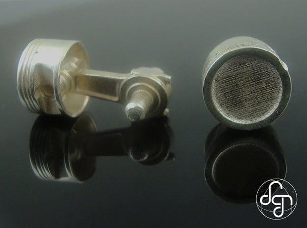Piston Cufflinks in Polished Silver