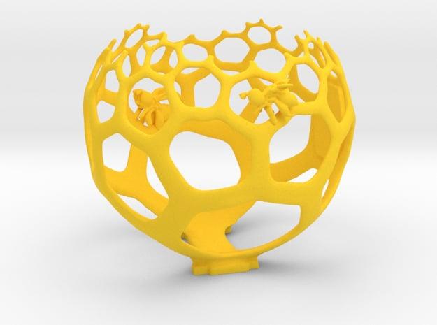 Honeycomb Spherical light projection Art in Yellow Processed Versatile Plastic