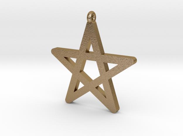Pentagram Symbol Pendantt in Polished Gold Steel