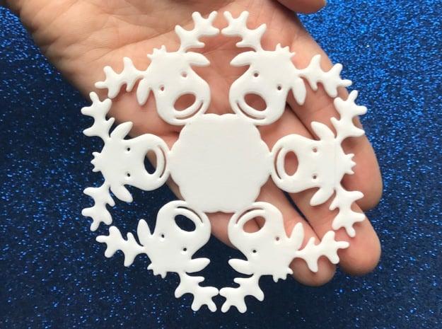 Reindeer Snowflake Ornament in White Natural Versatile Plastic
