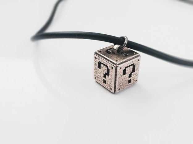 Super Mario Question Box Pendant in Polished Bronzed Silver Steel