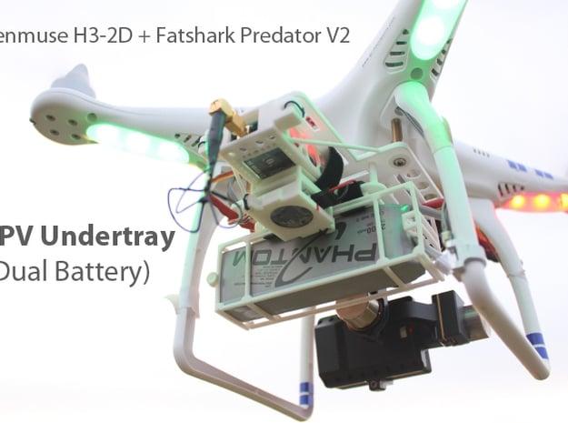 DJI Phantom Zenmuse FPV Undertray (Dual Battery) in White Natural Versatile Plastic