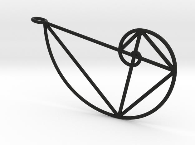Right Golden Spiral Pendant in Black Natural Versatile Plastic: Large