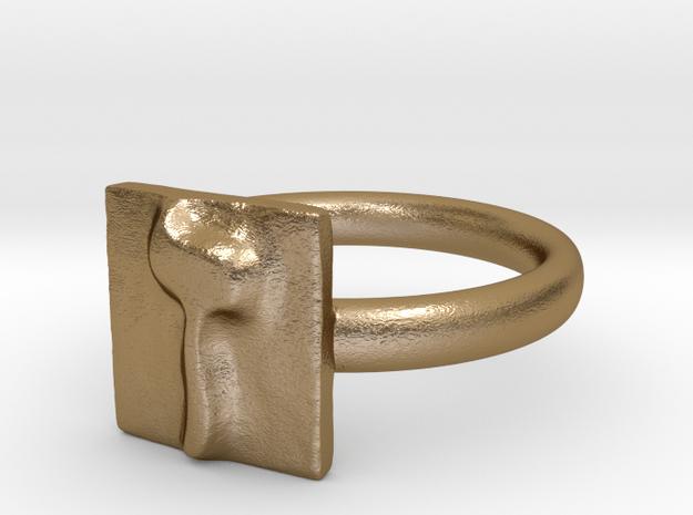 07 Zayn Ring in Polished Gold Steel: 7 / 54