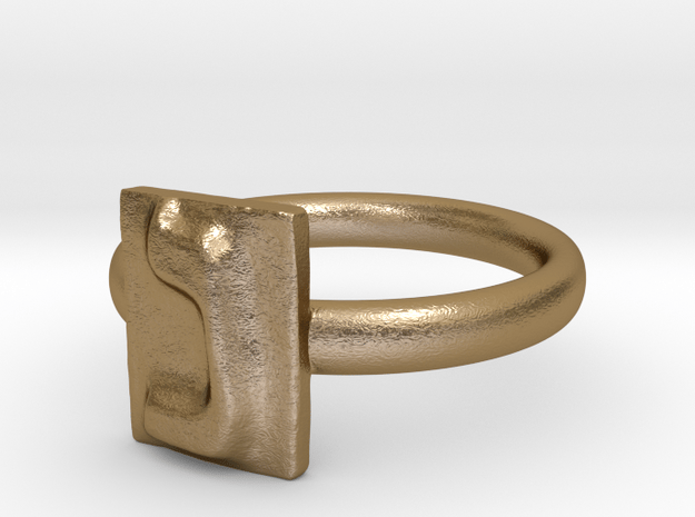 14 Nun Ring in Polished Gold Steel: 7 / 54