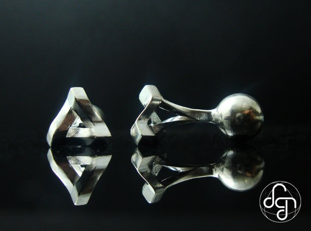 Penrose Triangle Cufflinks in Polished Silver